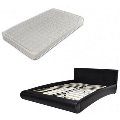 WHITE LABEL - Ensemble literie-WHITE LABEL-Lit cuir 180 x 200 cm noir + matelas