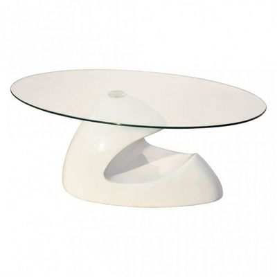 WHITE LABEL - Table basse ovale-WHITE LABEL-Table basse design blanche verre