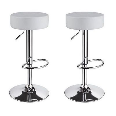 WHITE LABEL - Tabouret de bar-WHITE LABEL-Lot de 2 Tabourets de bar blanc