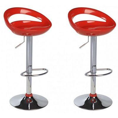 WHITE LABEL - Chaise haute de bar-WHITE LABEL-Lot de 2 Tabourets de bar rouge