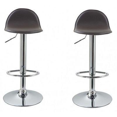 WHITE LABEL - Chaise haute de bar-WHITE LABEL-Lot de 2 Tabourets de bar marron