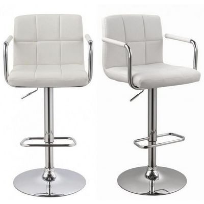 WHITE LABEL - Chaise haute de bar-WHITE LABEL-Lot de 2 Tabourets de bar blanc
