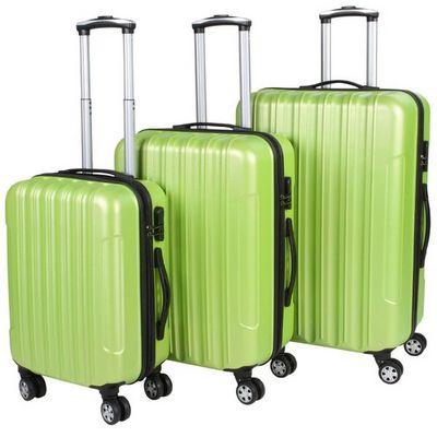 WHITE LABEL - Valise à roulettes-WHITE LABEL-Lot de 3 valises bagage rigide vert