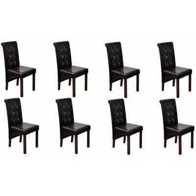 WHITE LABEL - Chaise-WHITE LABEL-8 Chaises de salle a manger marron