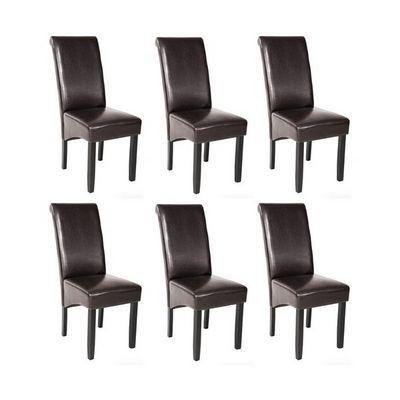 WHITE LABEL - Chaise-WHITE LABEL-6 chaises de salle à manger marron
