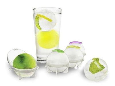 WHITE LABEL - Bac à glaçons-WHITE LABEL-Lot de 4 moules à glaçon en forme de boule ou gate