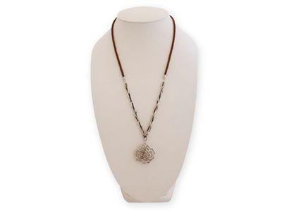 WHITE LABEL - Collier-WHITE LABEL-Collier long fleur argentée et faux diamants bijou