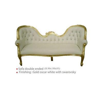 DECO PRIVE - Canapé 3 places-DECO PRIVE-Canapé de style baroque en bois doré et simili bla