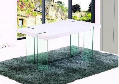 WHITE LABEL - Table de repas rectangulaire-WHITE LABEL-Table de repas design SCOOP blanche, pieds en verr