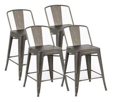 WHITE LABEL - Chaise haute de bar-WHITE LABEL-Lot de 4 chaises de bar BILOU en acier gris antiqu