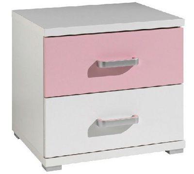 WHITE LABEL - Table de chevet-WHITE LABEL-Chevet VALENTINE 2 tiroirs blanc et rose