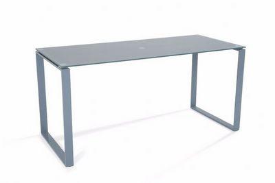 WHITE LABEL - Bureau-WHITE LABEL-Bureau NASDROVIA en verre trempé gris 160 cm