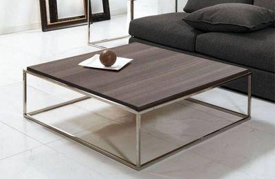 WHITE LABEL - Table basse carrée-WHITE LABEL-Table basse carré MIMI  noyer