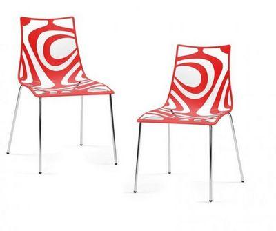 WHITE LABEL - Chaise-WHITE LABEL-Lot de 2 chaises design TRIBAL transparente et rou