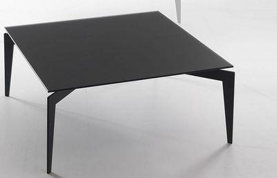 WHITE LABEL - Table basse carrée-WHITE LABEL-Table basse TOBIAS design en verre trempé noir