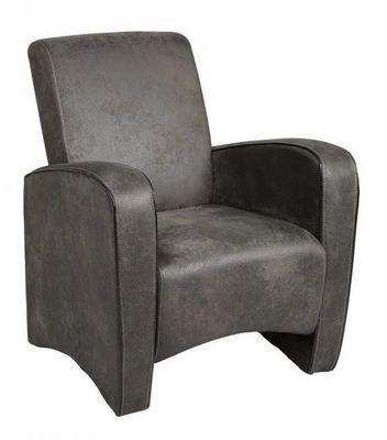 WHITE LABEL - Fauteuil-WHITE LABEL-Petit fauteuil SEATED microfibre grise