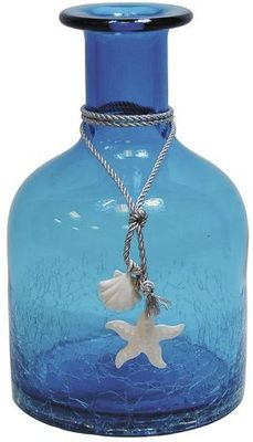 Aubry-Gaspard - Vase à fleurs-Aubry-Gaspard-Vase petite bouteille en verre teinté bleu