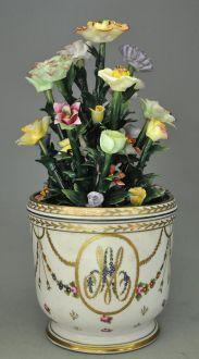 Demeure et Jardin - Cache-pot-Demeure et Jardin-Vase marie antoinette avec fleurs