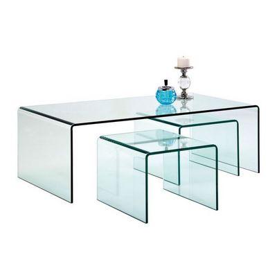 Kare Design - Table basse rectangulaire-Kare Design-Table Basse Transparente Clear Club 3/set