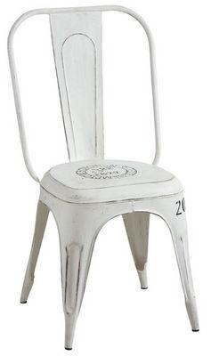 Aubry-Gaspard - Chaise-Aubry-Gaspard-Chaise en métal blanc vieilli Blanc