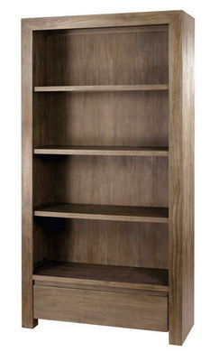 ZAGO - Etag�re-ZAGO-Biblioth�que 1 tiroir en teck massif gris� 100x37x