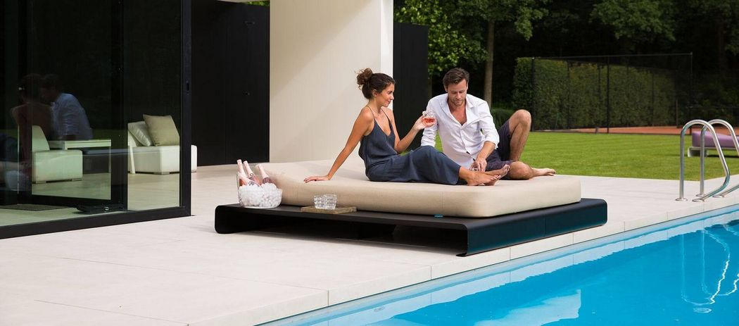 MR BLUE SKY Double Sun lounger Garden chaises longues Garden Furniture  |