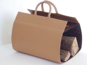 Log holder-MIDIPY-en cuir caramel