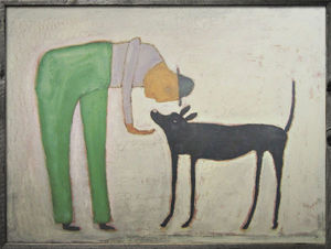 Sugarboo Designs - art print - man with dog - Decorative Painting