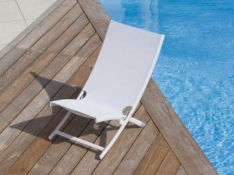 PROLOISIRS - relax pliant summer en aluminium et textilène blan - Deck Chair