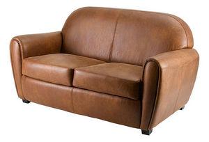 INWOOD - canapé club 2 places aspect cuir vieilli 150x85x91 - 2 Seater Sofa