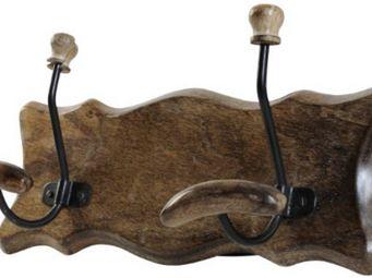 Antic Line Creations - patère murale 2 crochets en bois 33x10x15cm - Coat Hook