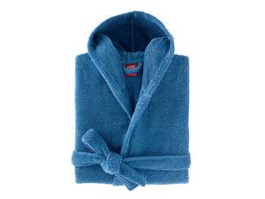BLANC CERISE - peignoir capuche - coton peigné 450 g/m² bleu - Bathrobe