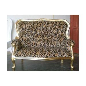 DECO PRIVE - banquette en velours tigre et bois dore grandfathe - 2 Seater Sofa