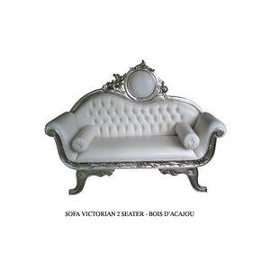 DECO PRIVE - canapé de mariage en bois argenté et imitation cui - 2 Seater Sofa
