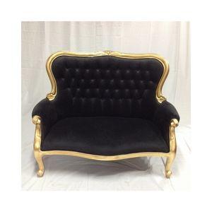 DECO PRIVE - banquette 2 places captionnée velours noir - 2 Seater Sofa