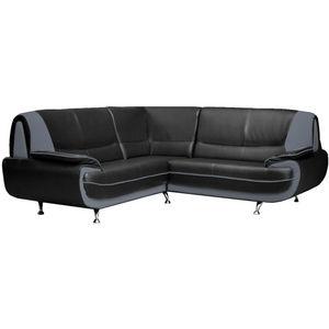 WHITE LABEL - canapé d?angle design en simili cuir noir et gris - Adjustable Sofa