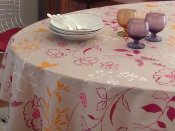 FLEUR DE SOLEIL - camélia orange - Coated Tablecloth