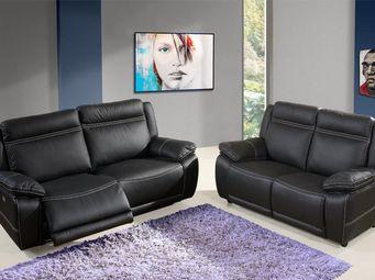 WHITE LABEL - canapé relax 3p électrique + fixe 2p cuir - angie - 2 Seater Sofa