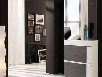 WHITE LABEL - meuble d\'entrée cendre/blanc + armoire - talita -