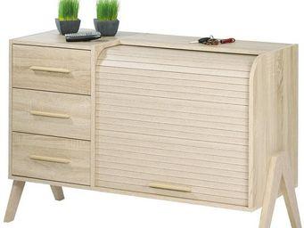 WHITE LABEL - meuble d\'entrée à rideau, 3 tiroirs - arkos n°9 -