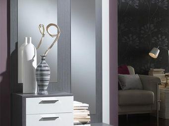 WHITE LABEL - meuble d\'entrée blanc/cendre + miroirs - rachou -