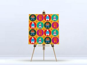 la Magie dans l'Image - toile heros pattern orange - Digital Wall Coverings