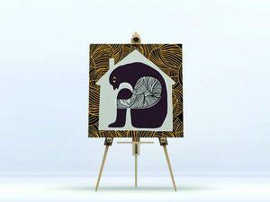 la Magie dans l'Image - toile ogre maison fond gris - Digital Wall Coverings