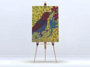 la Magie dans l'Image - toile oiseau bordeau - Digital Wall Coverings