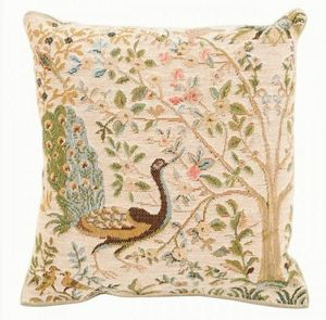 Art De Lys - arbre et paon, fond clair - Square Cushion