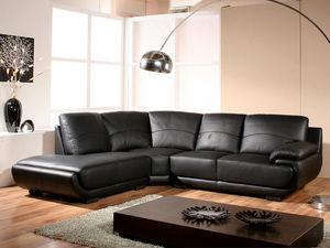 WHITE LABEL - canapé cuir angle mozart - Adjustable Sofa