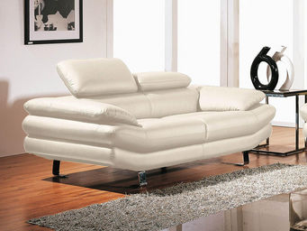 WHITE LABEL - canapé cuir 2 places carlton - 2 Seater Sofa