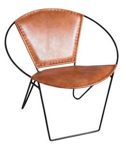 Aubry-Gaspard - fauteuil rond en cuir marron et métal - Armchair