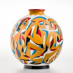 Emaux De Longwy - les danseurs - Large Vase