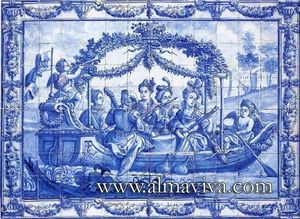 Almaviva - musiciens sur une barque - Ceramic Tile